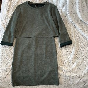 Faux Two Piece Army Green Dress Split Back